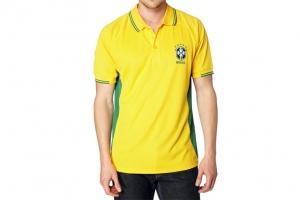 Polo Adulte CBF Brésil Jaune Supporter Football HOLIPROM