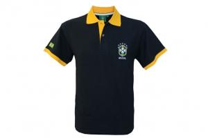 Polo Adulte CBF Brésil Marine Supporter Football HOLIPROM